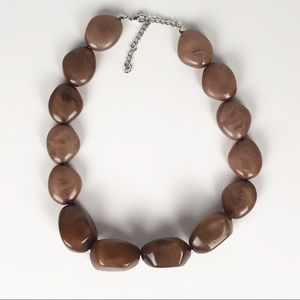 Vintage faux brown stone chunky necklace